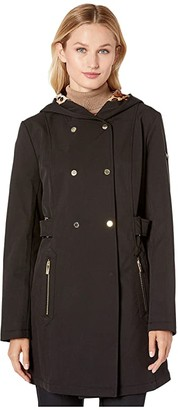 Via Spiga Double Breasted Hooded Raincoat with Leopard Warm Backing
