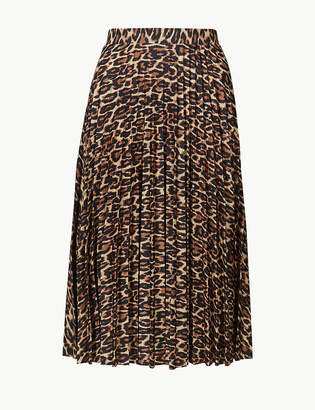 Marks and Spencer Animal Print Pleated Midi Skirt