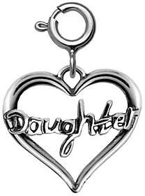 """QVC Sterling """"Daughter"""" Heart Charm"""