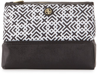 Adrienne Vittadini Geometric-Print Pyramid Cosmetic Bag, Black/White $28 thestylecure.com
