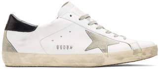 Golden Goose White and Black Metal Logo Superstar Sneakers
