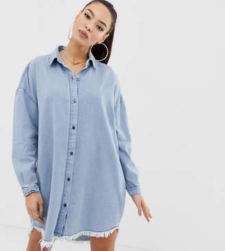 7b1abe169c1 Missguided oversized denim shirt dress in blue