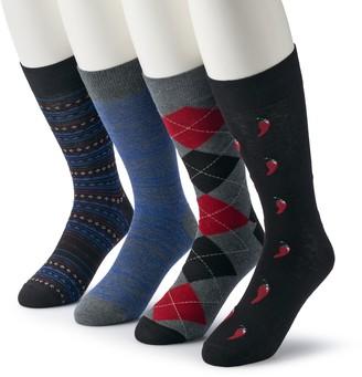 Croft & Barrow Men's & Big & Tall 4-pack Opticool Patterned & Pepper Crew Socks