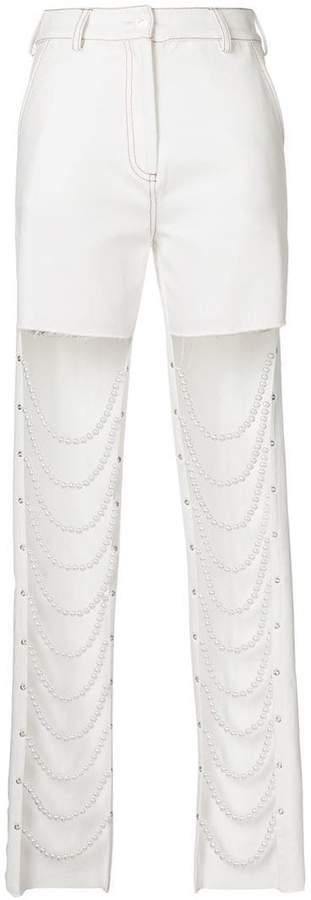 Cristina Savulescu pearl string front slim fit jeans