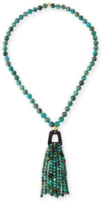 NEST Jewelry African Turquoise Tassel Pendant Necklace, 37""
