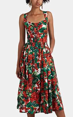 Dolce & Gabbana Women's Floral Cotton Midi-Dress - Red