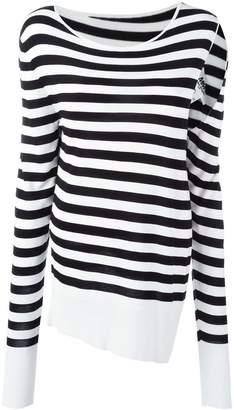 MM6 MAISON MARGIELA slit sleeve striped pullover