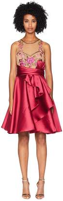 Marchesa Sleeveless Draped A-Line Mikado Cocktail with Embroidered Bodice Women's Dress