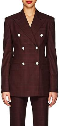 Calvin Klein Women's Plaid Wool-Silk Double-Breasted Blazer