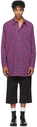 Maison Margiela Blue and Red Check Long Shirt