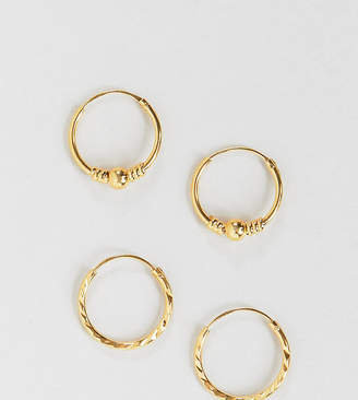 Asos DESIGN sterling silver earring pack with gold plate