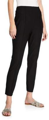Eileen Fisher Hi-Waist Slim-Leg Pintuck Stretch Crepe Ankle Pants