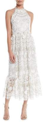 Shoshanna Rosita Lace Halter Midi Dress
