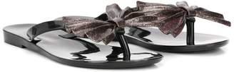 Mini Melissa metallic pleated bow sandals