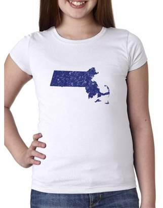 Hollywood Thread Massachusetts Blue Democratic - Election Silhouette Girl's Cotton Youth T-Shirt