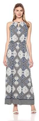 London Times Women's Sleeveless Keyhole Halter Blouson Maxi Dress