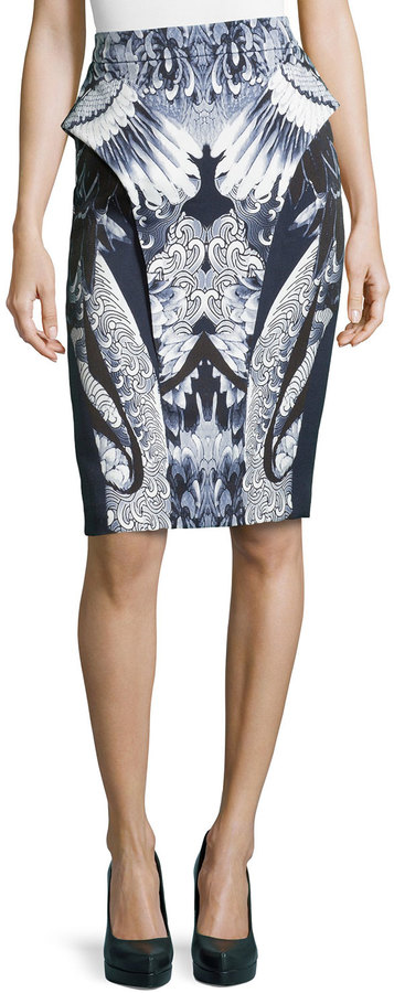 Monique Lhuillier Sculpted Koi/Crane-Print Skirt, Ink/White
