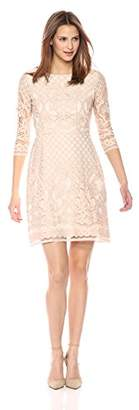 Gabby Skye Women's Long Sleeved Crochet Lace Fit and Flare Dress