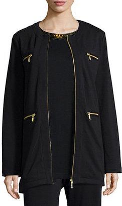 Joan Vass Four-Pocket Cotton Interlock Jacket $298 thestylecure.com