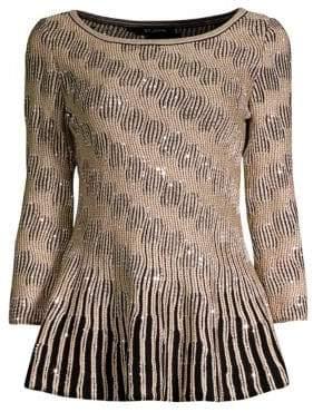 St. John Inlay Sequin Trellis Knit Sweater
