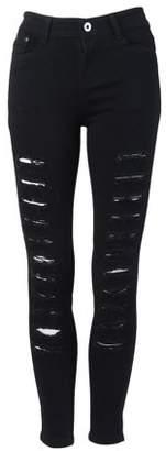 Openyourheart Fashion Hole Design Women Slim Figure Pencil Pants Casual Jeans Trousers