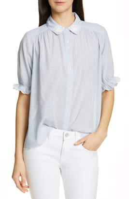 The Great The Kerchief Embroidered Cotton Top