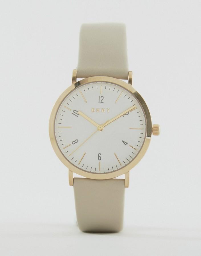 DKNYDKNY Minetta Gray Leather Watch