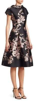 Teri Jon by Rickie Freeman by Rickie Freeman Women's Floral Fit-and-Flare Dress - Black Pink - Size 2