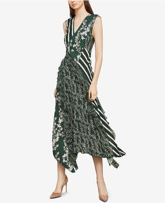 BCBGMAXAZRIA Asymmetrical Mixed-Print Dress