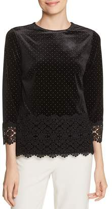 Badgley Mischka Lace-Trimmed Velvet Top