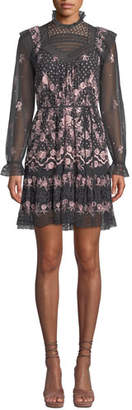 Needle & Thread Eclipse High-Neck Embroidered Tulle Mini Dress