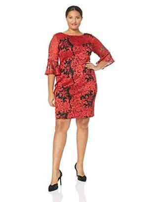 Alex Evenings Women's Plus Size Shift Dress with Illusion Neckline