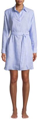 Pour Les Femmes Linen Lounge Shirt Dress