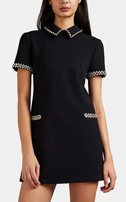 Saint Laurent Women's Embellished Wool Mini-Shirtdress - Black