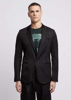 Emporio Armani Single-Breasted Blazer In Viscose And Crinkle Cotton