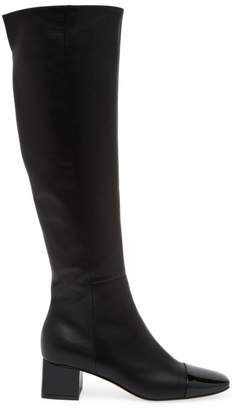 Gianvito Rossi Watts Two-Tone Cap-Toe Knee-High Leather Boots