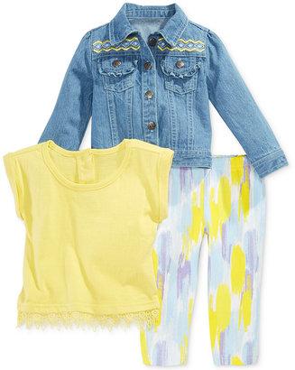 Nannette 3-Pc. Denim Jacket, Top & Leggings Set, Baby Girls (0-24 months) $50 thestylecure.com