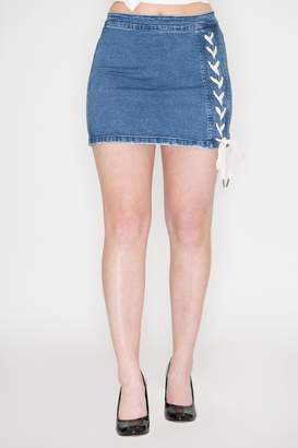 Listicle Lace-Up Denim Skirt