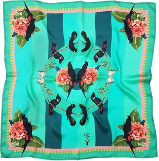 Rainforest Texas And The Artichoke Large Tropical Teal Silk Scarf
