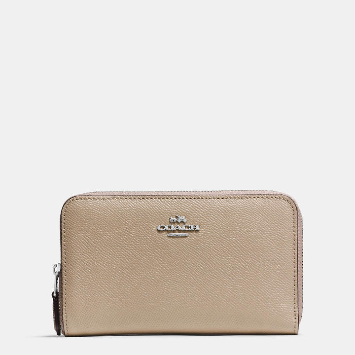 Coach   COACH Coach Medium Zip Around Wallet In Crossgrain Leather