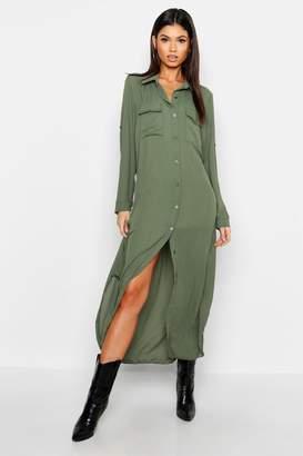 boohoo Woven Midi Shirt Dress