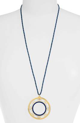 Tory Burch T-Stripe Rotating Pendant Necklace