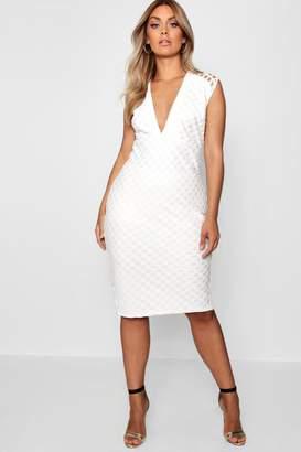 boohoo Plus Lace Plunge Midi Dress