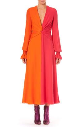 Carolina Herrera Deep-V Long-Sleeve Colorblocked Silk Long Dress