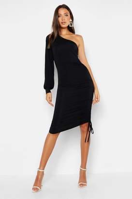 boohoo Tall Slinky One Shoulder Ruched Midi Dress