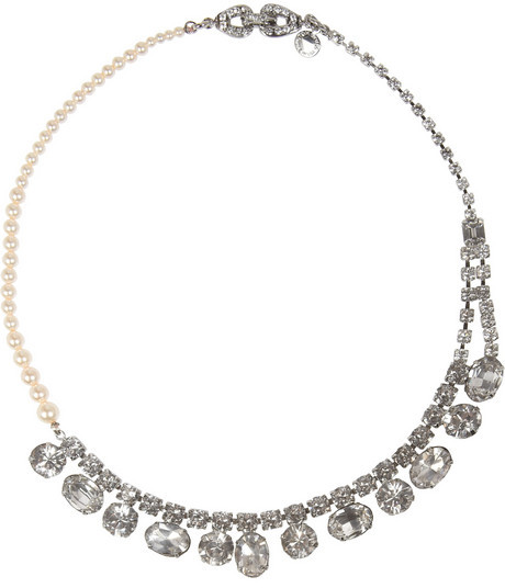 Tom Binns Grande Dame silver-plated, Swarovski crystal and faux pearl necklace