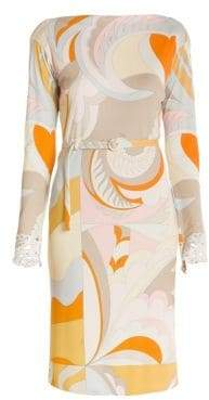Emilio Pucci Marilyn Lace Trim Print Belted Dress