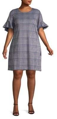 Calvin Klein Plus Plaid Ruffle-Sleeve Shift Dress