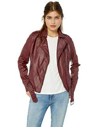 Yoki Women's Faux Leather Moto Jacket with Studs Outerwear