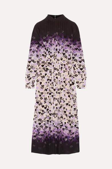 Prada - Pleated Printed Dégradé Silk Crepe De Chine Midi Dress - Purple